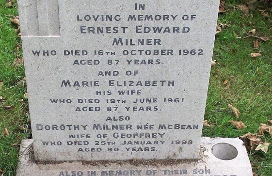 Gravestone of MILNER Ernest Edward 1962; MILNER Marie Elizabeth 1961; MILNER (nee McBEAN) 1998; MILNER Geoffrey Ernest 1995