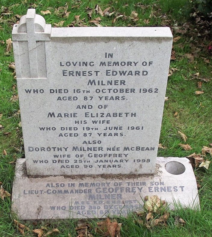 Gravestone of MILNER Ernest Edward 1962; MILNER Marie Elizabeth 1961; MILNER (nee McBEAN) 1998; MILNER Geoffrey Ernest 1995 | Dawn Sedgwick