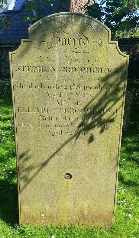 Gravestone of GROOMBRIDGE Stephen 1847; GROOMBRIDGE Elizabeth 1851 | Dawn Sedgwick