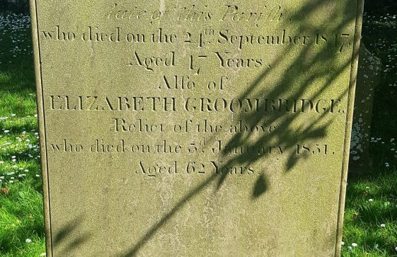 Gravestone of GROOMBRIDGE Stephen 1847; GROOMBRIDGE Elizabeth 1851