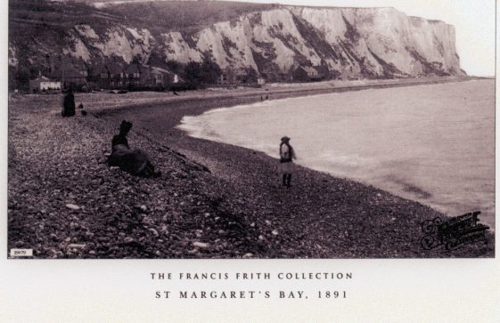 St Margaret's Bay from Ness Point; St Margaret's Bay from The Leas; East Cliff from the beach. pre WW1