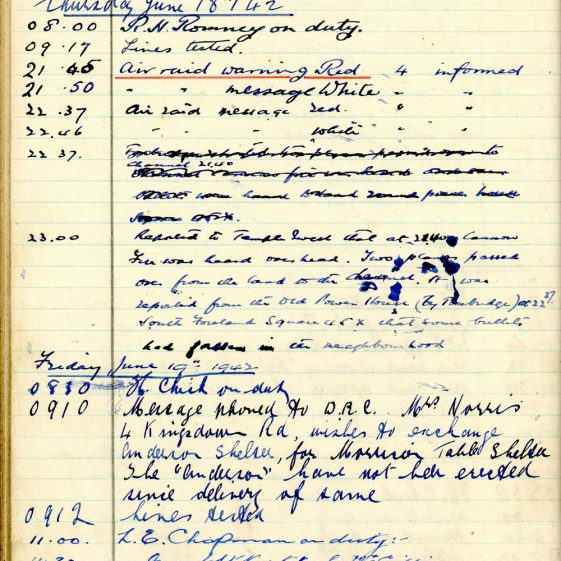 St Margaret's ARP (Air Raid Precautions) Log. Volume 5. 25 September 1941 - 17 July 1942. Pages 116 -125