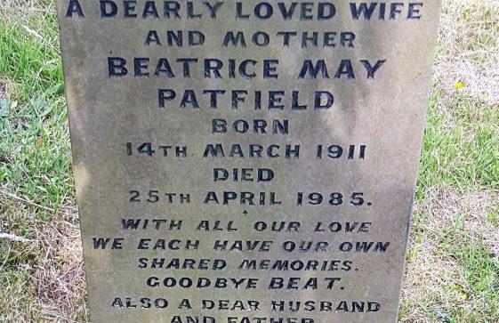 Gravestone of PATFIELD Beatrice May 1985; PATFIELD Bert 1989