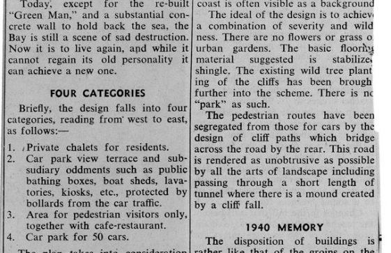 A press cutting describing the new plans for St Margaret's Bay. 'The Invicta' January 1956