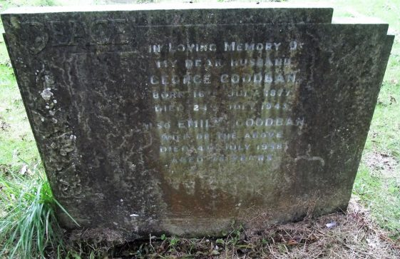 Gravestone of GOODBAN George; 1943; GOODBAN Emily 1958