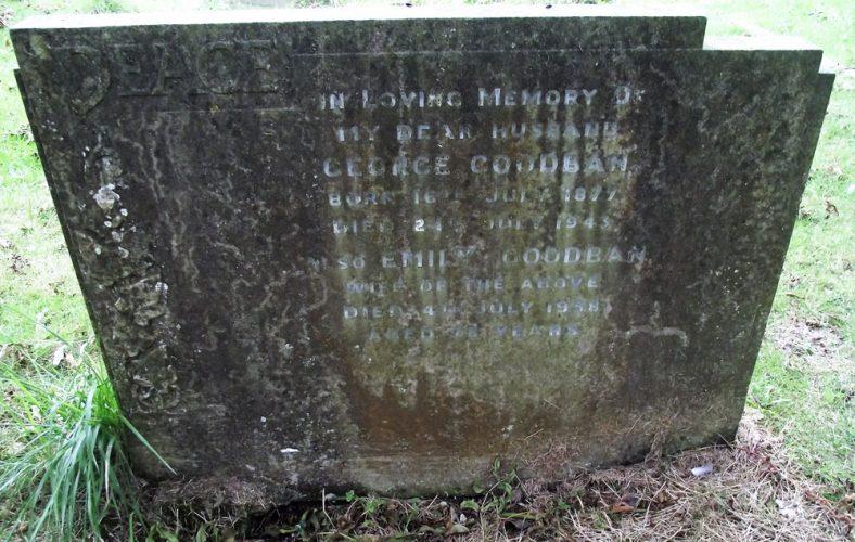 Gravestone of GOODBAN George; 1943; GOODBAN Emily 1958   Dawn Sedgwick