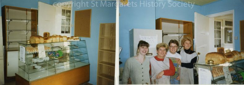 Interior of Watson's Baker's shop, including four staff members.  March 1995.