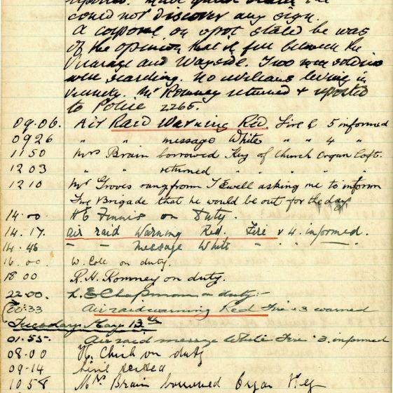 St Margaret's ARP (Air Raid Precautions) Log. Volume 4. 18 February 1941 - 25 September 1941. Pages 63-71