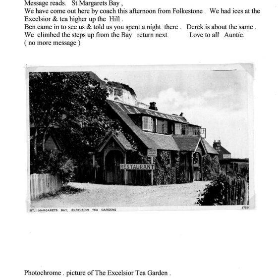 Excelsior Tea Gardens, St. Margaret's Bay. postmark 1938