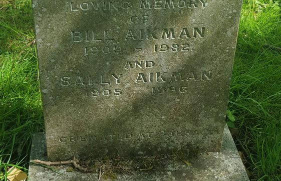 Gravestone of AIKMAN Bill 1982; AIKMAN Sally 1996