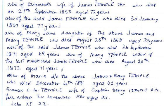 Temple family vault, extracts from the monumental inscriptions book in St Margaret's at Cliffe
