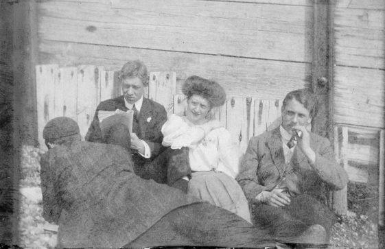 People against a breakwater, St Margaret's Bay. 1907
