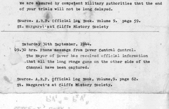 ARP Official Log Book extract, regarding the capture of the German cross channel guns. 27th September 1944