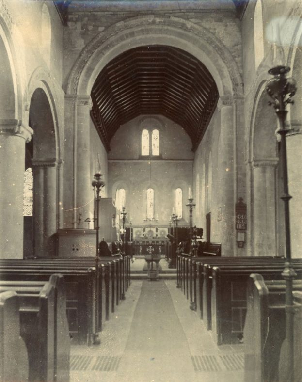 Interior of St Margaret's Church facing east. early 20th century