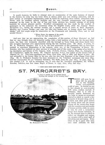 Extracts from unknown Guide Book on St Margaret's at Cliffe and st Margaret's Bay c1891