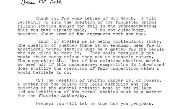 Correspondence re planning application for a petrol filling station in Reach Road. 1958