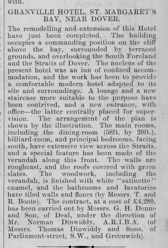 Article and architect's drawing about the Granville Hotel from The Building News. 1907
