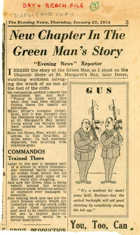 Rebuilding the Green Man in The Bay. 1954