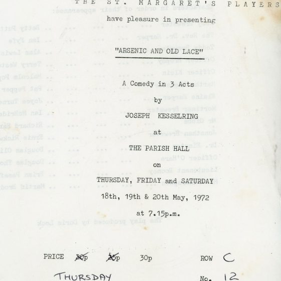 Programme of St Margaret's Players production 'Arsenic and Old Lace' 1972