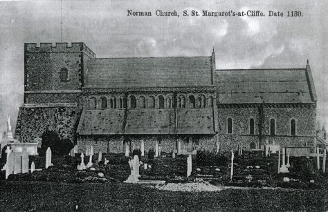 Enlargement of a postcard of the church from the south.  Early 20th century