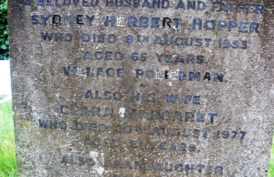 Gravestone of HOPPER Sydney Herbert 1953; HOPPER Clara Margaret 1977; HOPPER Susan; HEALINGS Daisy Kathleen (Not on stone)