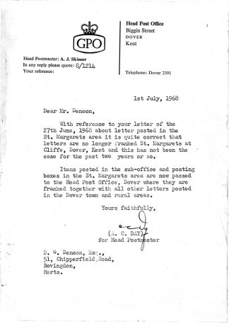 Letter from the GPO to Gordon Denoon. 1968