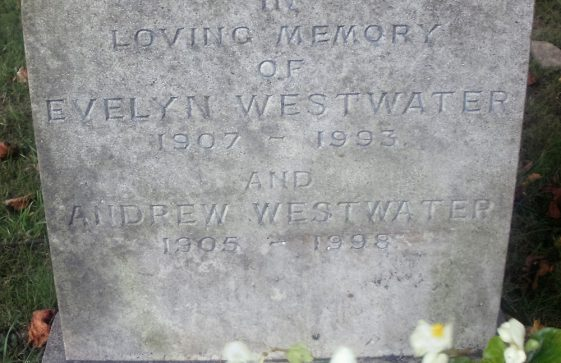 Gravestone of WESTWATER Andrew 1998; WESTWATER Evelyn 1993