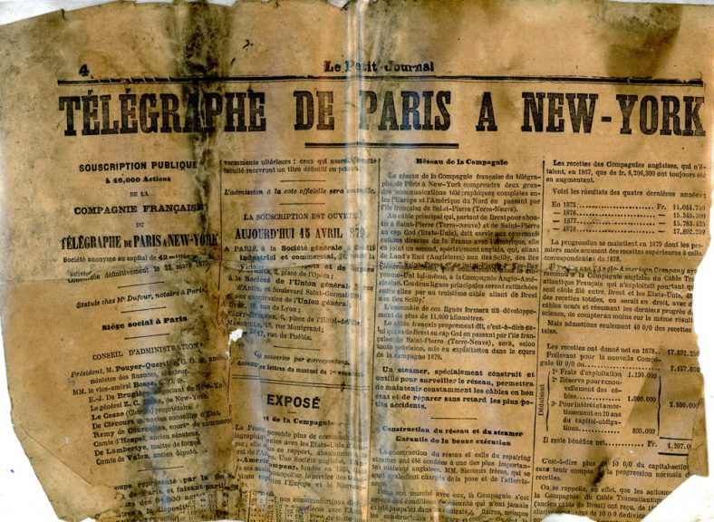 Page from 'Le Petit Journal' found in Cliffe House school wall.  Late 19th century