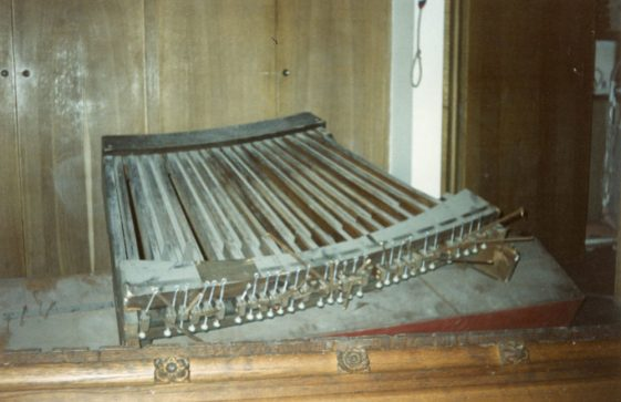 Parts of the removed church organ. 1989