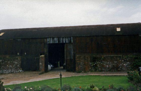 Outbuildings at Wallett's Court before restoration. 24 April 1986