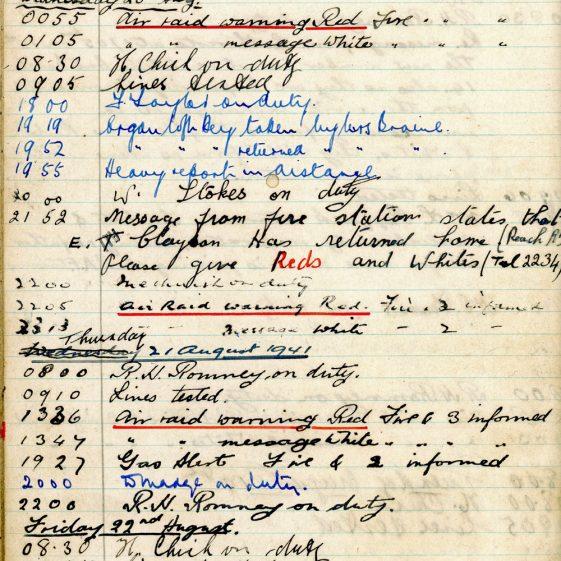 St Margaret's ARP (Air Raid Precautions) Log. Volume 4. 18 February 1941 - 25 September 1941. Pages 126-133