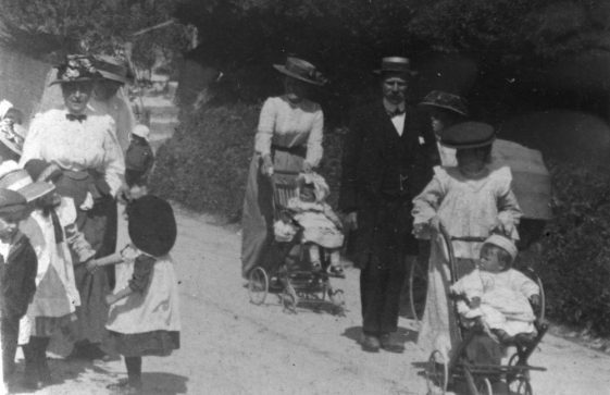 Children from St Margaret's School marching to the Coastguard Station Bay Hill to celebrate Empire Day.1909
