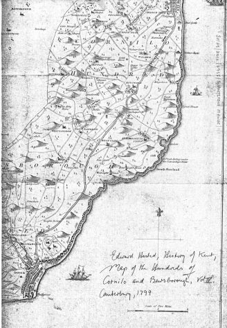 Map of Cornilo & Bewsborough from Edward Hasted 'History of Kent' 1799