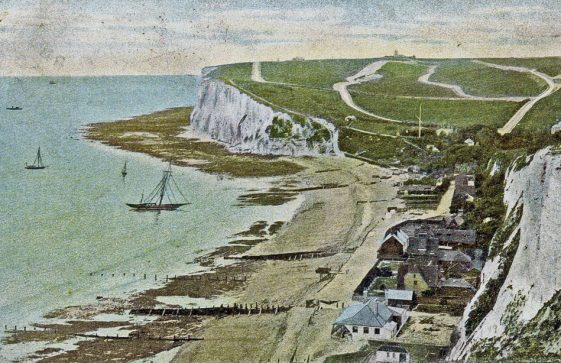 St Margaret's Bay from The Leas. sent to Miss F Newman. early 20thc