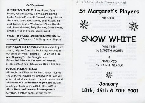 Programme for St Margaret's Players pantomime of 'Snow White'. 2001.