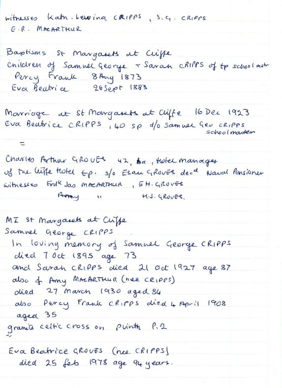 1881 Census for Orsett Essex and 1891 for St Margaret's at Cliffe - Cripps family records