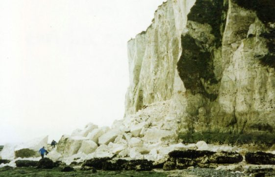 Cliff fall at Ness Point. 1995
