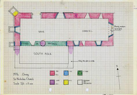 Plan of St Nicholas Church Oxney drawn 16 June 1974