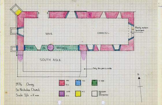 Plan of St Nicholas Church Oxney drawn 16 June 1974
