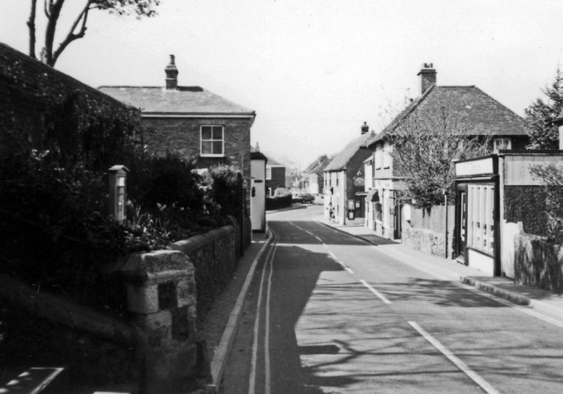 High Street from the church steps, Greengrocers on right. c1970