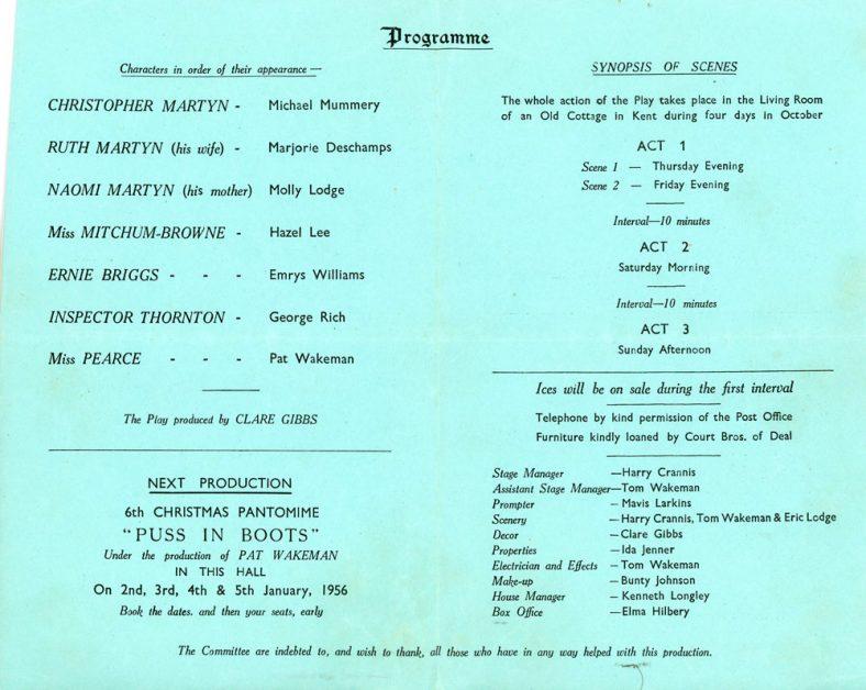 Programme of St Margaret's Players production 'The Secret Tent'. 1956