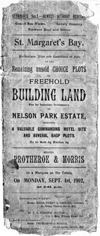 Clearance sale notice for unsold plots at Nelson Park 1 September 1902