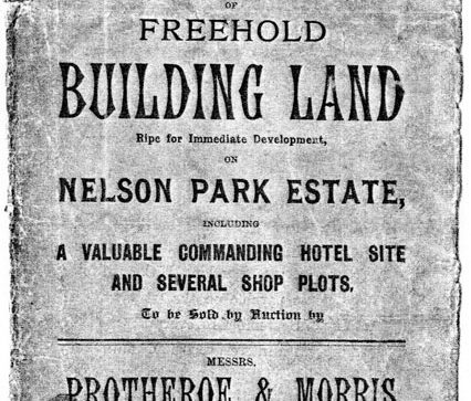 Poster for clearance sale of unsold plots at Nelson Park Estate. 1 September 1902