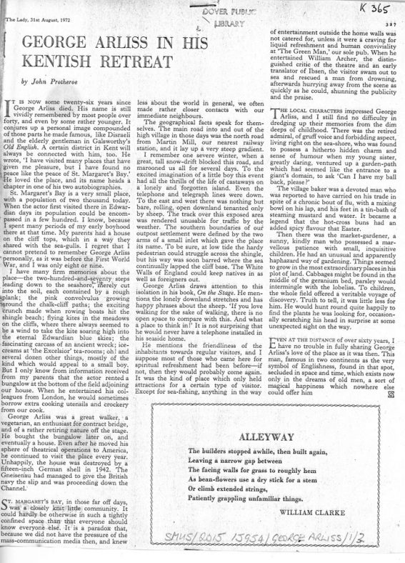 Copy of an article from The Lady 31 August 1971 on George Arliss in his Kentish retreat