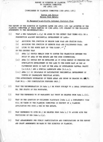 Report by the Director of Planning DDC of Survey and Review on Nelson Park Estate. 2 April 1981