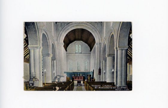 Interior of St Margaret's church facing east. Early 20th century.