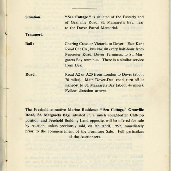 'Sea Cottage' Granville Road, auction list of contents. 1959