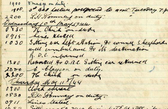 St Margaret's ARP (Air Raid Precautions) Log. Volume 8. 25 October 1943 - 10 August 1944. Pages 85-97