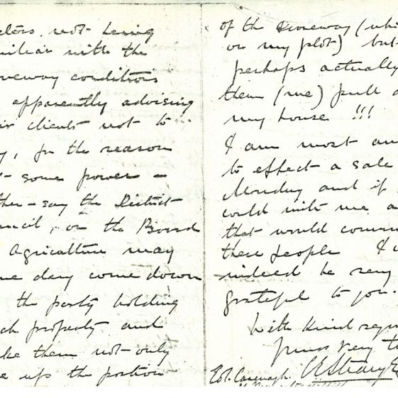 A letter re problems with sale of  'The Ness', The Droveway. 1913