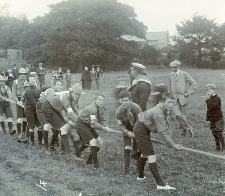 Scouts tug-of-war at St Margaret's Sports Day. Undated